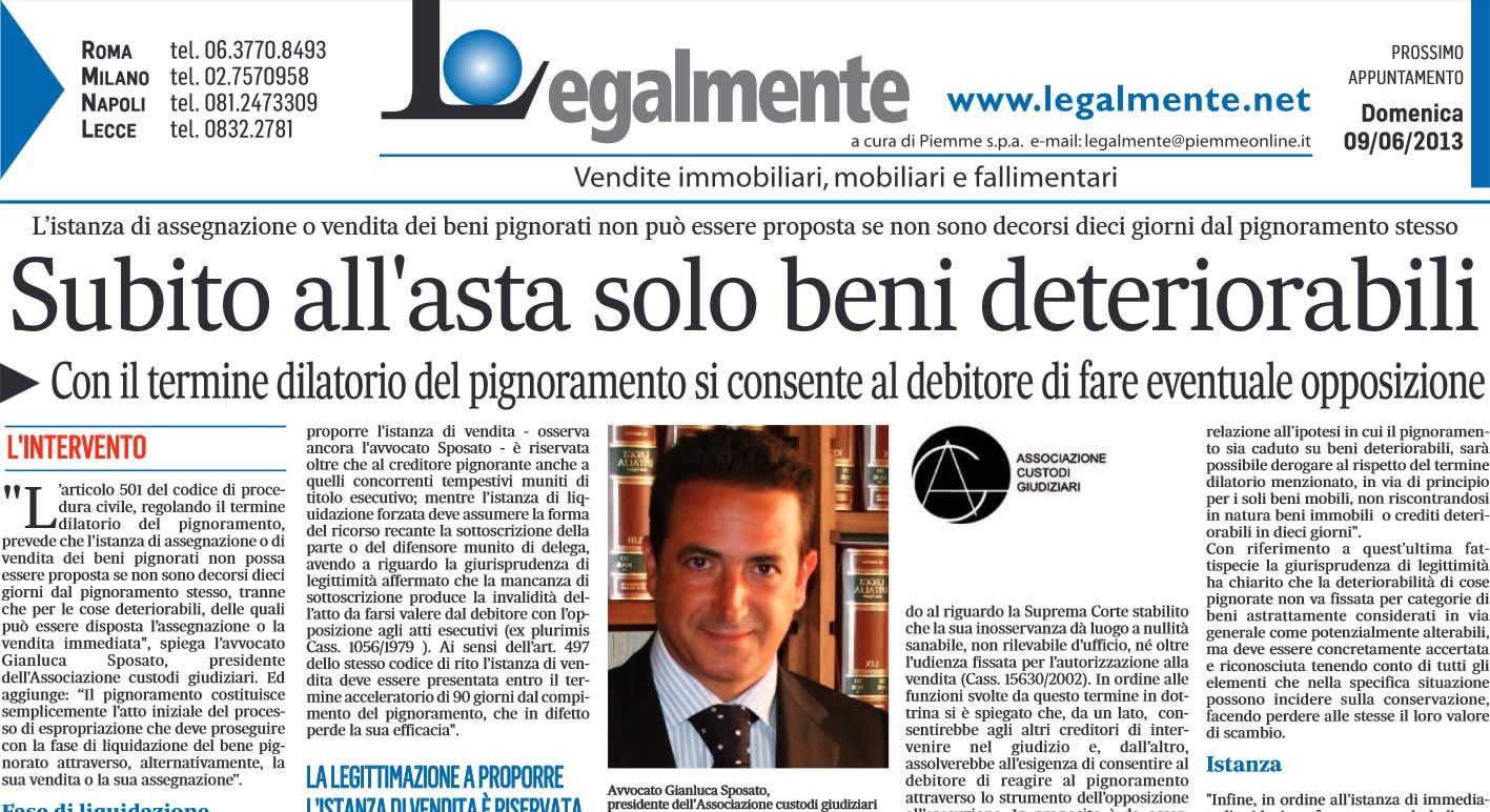 """Il Messaggero: """"Subito all'asta solo i beni deteriorabili"""""""