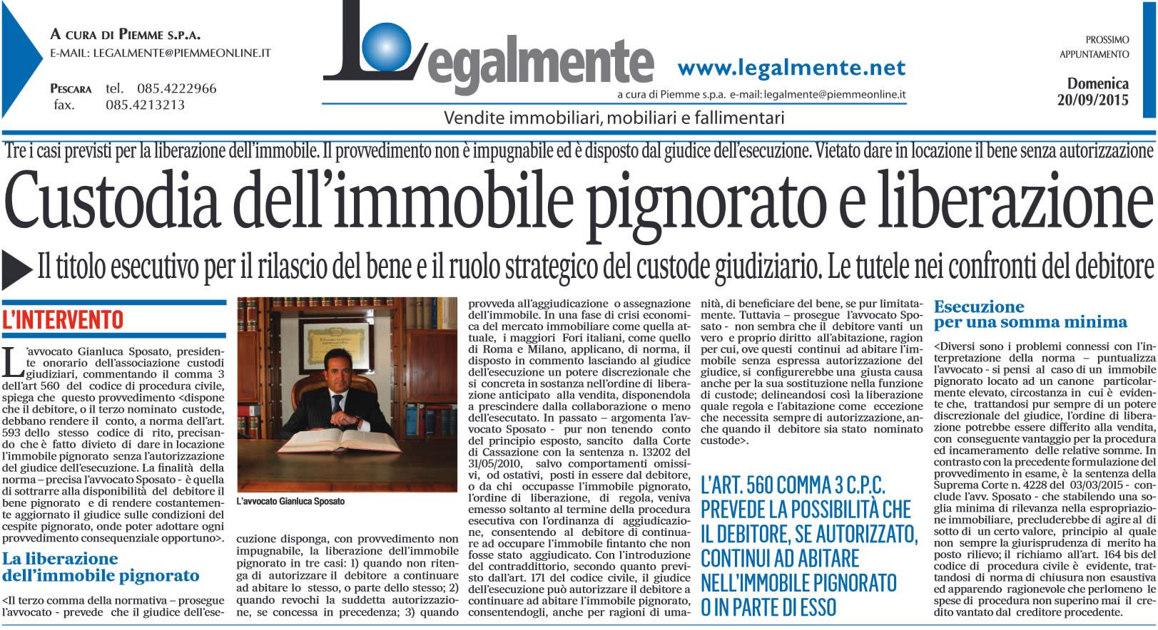 """Il Messaggero: """"Custodia dell'immobile pignorato e liberazione"""""""