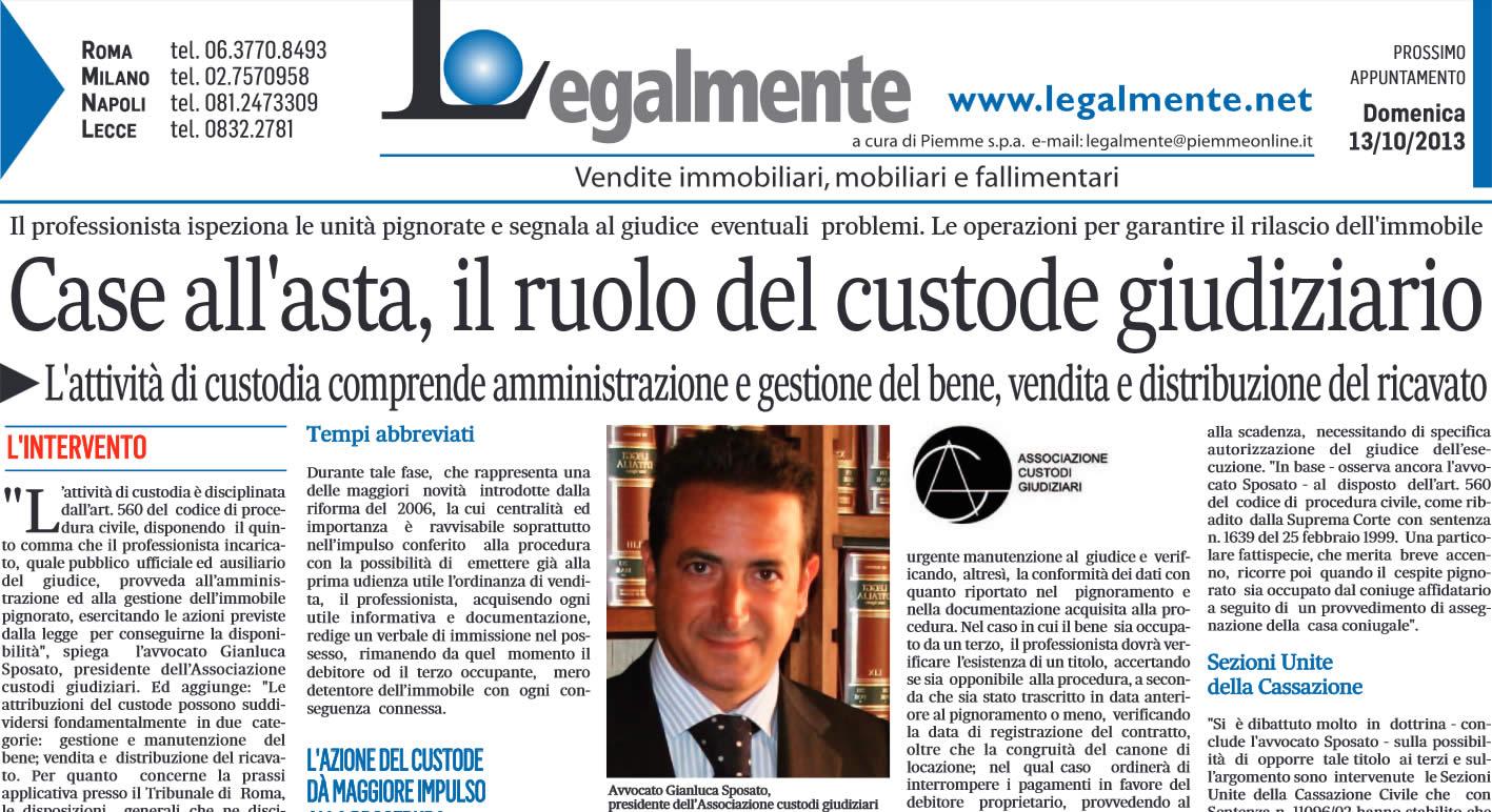 """Il Messaggero: """"Case all'asta, il ruolo del custode giudiziario"""""""